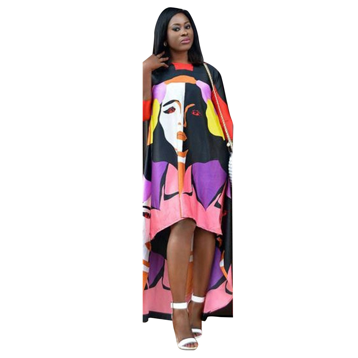 Character Print Maxi Dress Women Summer Short Front Long Back Loose Long Dresses Fashion Modern African Print Casual Dresses