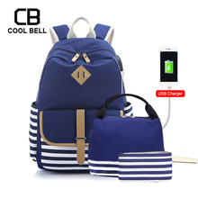 Striped Patchwork Canvas Waterprrof Backpack Women 3pcs/set Schoolbag USB Charger Laptop School Bags For Girls Set