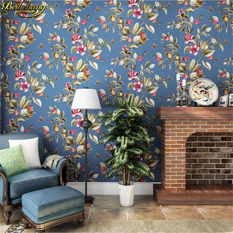 beibehang American Countryside Pastoral Wallpaper Living Room Sofa TV Background Recycling Birds Paper Wallpaper Bedroom recycling fun