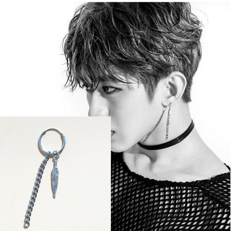 1pcs Leaf feather V Earrings Studs Kpop BTS Bangtan Boys BTS Accesorios Album Korean Earrings Jewellery for Women Men