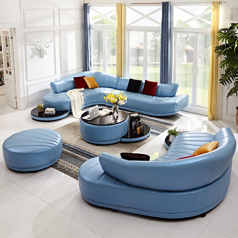 Unusual Living Room Furniture: Leather Sofa Top Layer Leather Personality Creative Curved