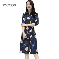 Elegant Women Autumn Shirt Dresss Newest Turn Down Collar Dress With Belt For Female Casual Printing