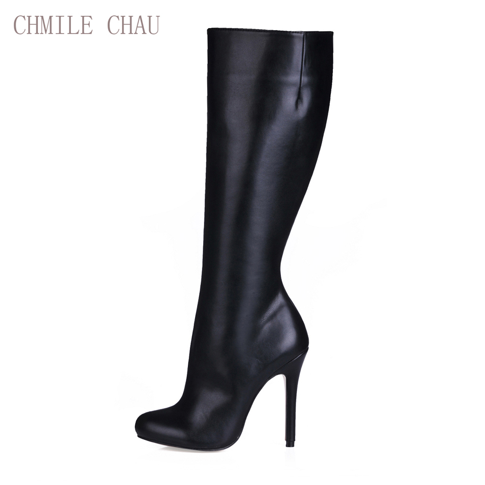 CHMILE CHAU Black Sexy Fashion Party Shoes Women Stiletto High Heels Lady Knee-High Boot Zapatos Mujer Plus Size 0640cbt-b11 блок а востоков а гиппиус з жуковский в и др стихи о светлане