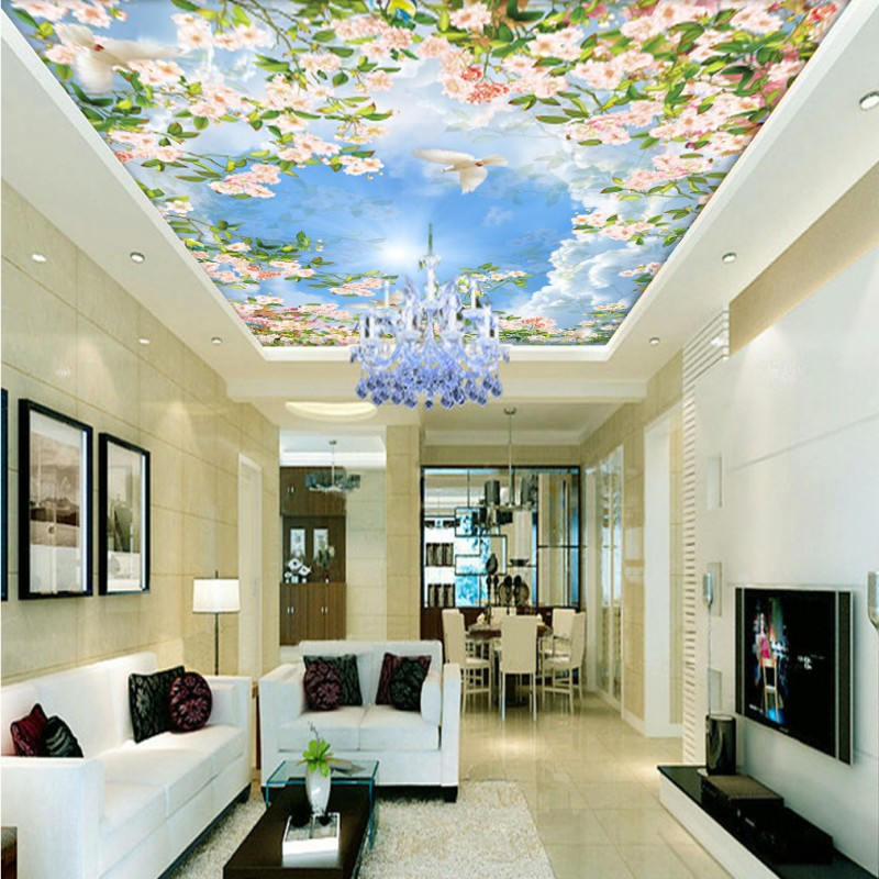 Custom photo wallpaper 3D Stereo Blue Sky White Cloud Flower Pigeon Ceiling mural Living Room hall Hotel Wallpaper custom 3d stereo ceiling mural wallpaper beautiful starry sky landscape fresco hotel living room ceiling wallpaper home decor 3d