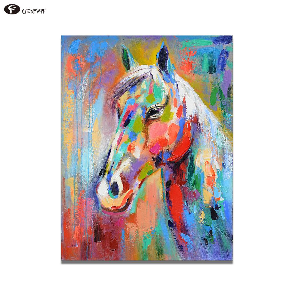 Chenfart Wall Painting Art Canvas Animal Home Decor Colorful Horse Cetak Foto Ukuran 24r Salon Aeproduct