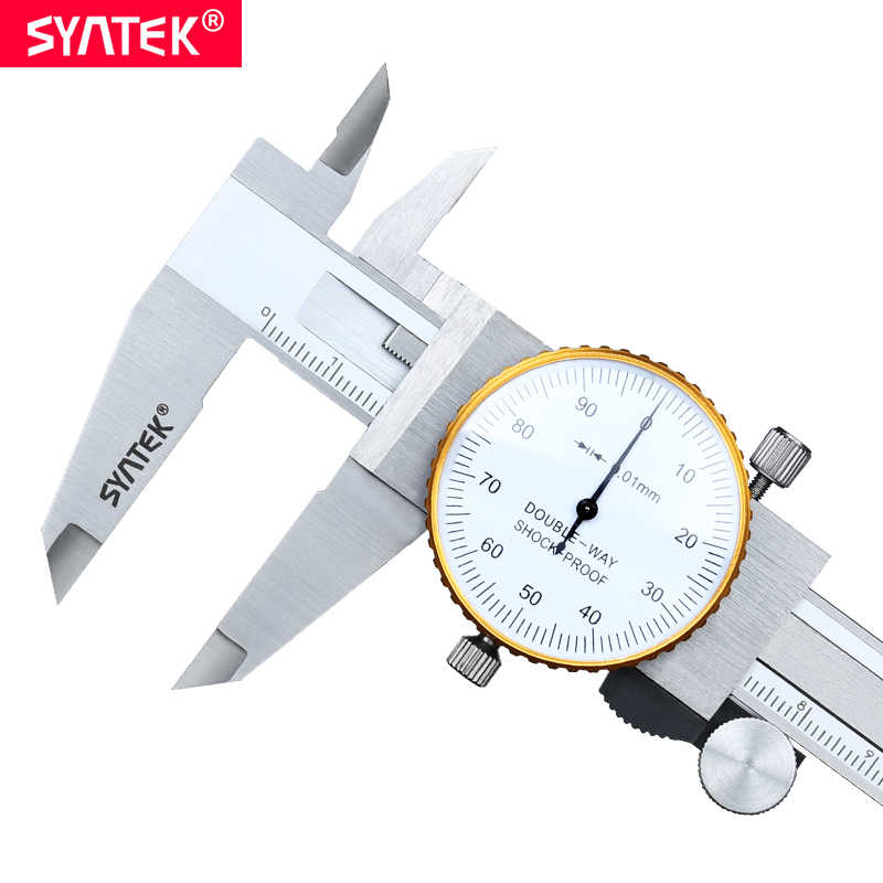 Syntek 0-150mm Metric Gauge Alat Pengukur Dial vernier caliper Shock-proof Vernier Caliper 0.01mm