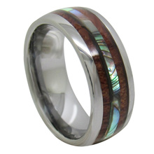 Free Shipping YGK JEWELRY Hot Sale 8MM Silver Dome Shelly and Wood Inlay Design The New Mens Tungsten Carbide Ring