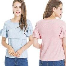 18fb62969bd10 new style pregnant woman lactation nurse T-shirt short sleeve round collar  pure color shirt