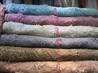 Embroider 3D applique Lace Fabric African Wedding Lace Materials stones and beads french tulle lace fabrics