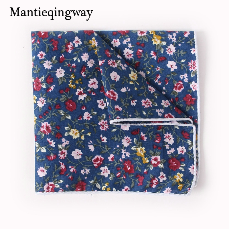 Mantieqingway Handkerchiefs Wedding Party Floral Pocket Square For Mens Business Suit Cotton Mens Hankies Hanky Chest Towel