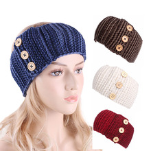 Womens Crochet headband Winter Warm wood three Buttons Knitted Braided Knit Wool Ear Warmer Hat Cap Headband Hair Band lowest price free shipping promotion new oversized hair ball knit wool cap blending knitted hat ear warm hat ms