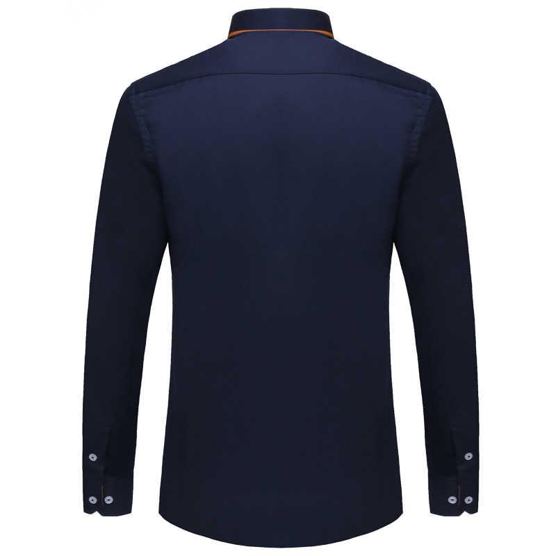 Visada Jauna Eropa Ukuran Kemeja Pria 2017 Baru 100% Kapas Slim Bisnis Kasual Merek Pakaian Lengan Panjang Chemise Homme n356