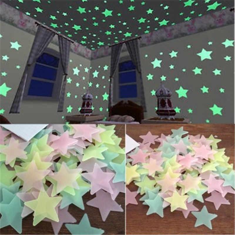 50 個 3D スターグロウ壁のステッカーダーク発光蛍光壁のステッカー子供のためのベビールームの寝室の天井家の装飾