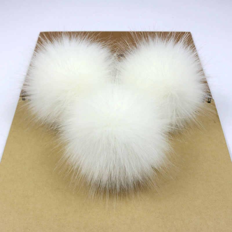 1pc Bolas De Pompom De Pele de Raposa Do Falso 12 três centímetros DIY Handmade Artificial Fur Pom Pom para a Corrente Chave Beanie Chapéus bolsa Pingente Acessório