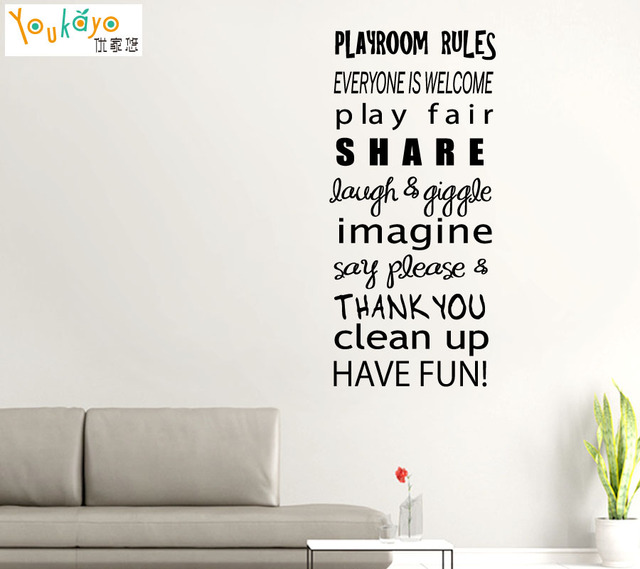 Playroom Rules Motto Quotes Words Letter Vinyl Wall Sticker Decal Kids Baby  Room Part 66