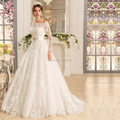 Vestidos de Casamento Da Princesa do vintage 2016 Vestidos De Noiva Lace Manga Comprida de Noiva Turquia Vestidos Fora Do Ombro Com Faixa Frisada