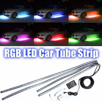 4Pcs Set Colorful RGB LED Strip Under Car Tube Underglow Underbody Neon Light System Kit Decorative