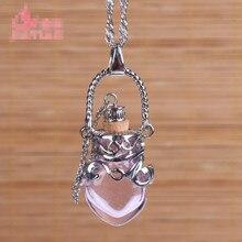Новая Мода Женский парфюм стеклянный кулон сплав ароматерапия диффузор ожерелье прозрачное сердце бутылка кулон