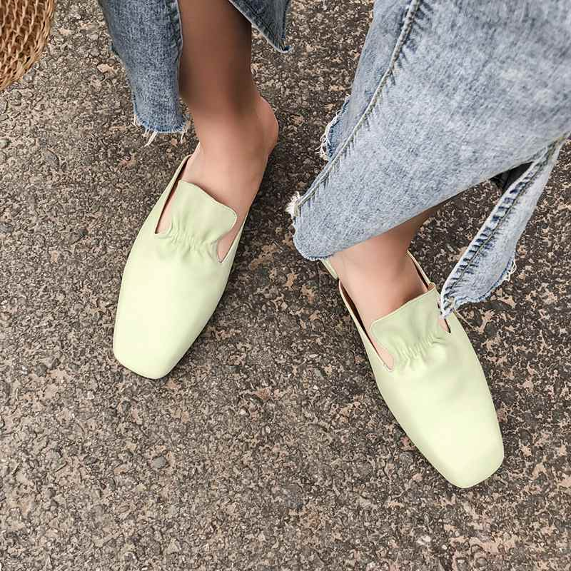 Krazing หม้อของแท้หนังรองเท้ารองเท้าสแควร์ toe ส้นด้านนอกรองเท้าแตะ jelly สีเขียว ruffles preppy สไตล์ mules l60-ใน รองเท้าใส่ในบ้าน จาก รองเท้า บน   3