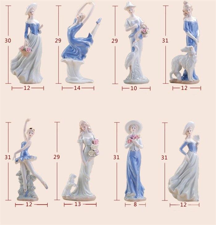 Fait à la main en céramique fine élégante western femelle personnages miniatures ornements exquis moderne décorations pour la maison - 5