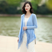 100% cashmere knitted cardigan women's long sleeve solid color tassel open sweater spring/autumn standard women clothings
