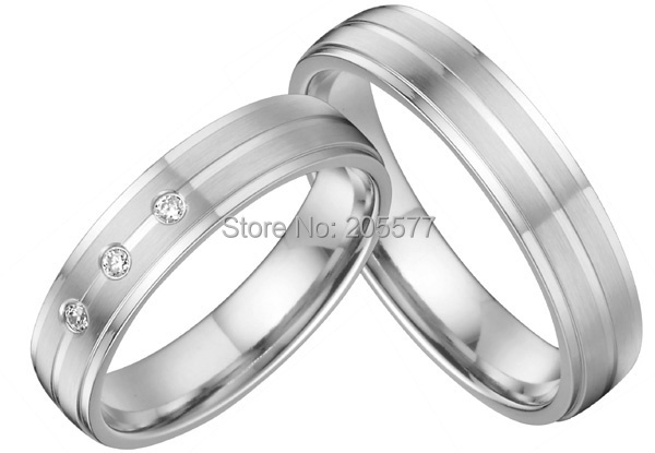custom health titanium silver color wedding band engagement ring sets pair