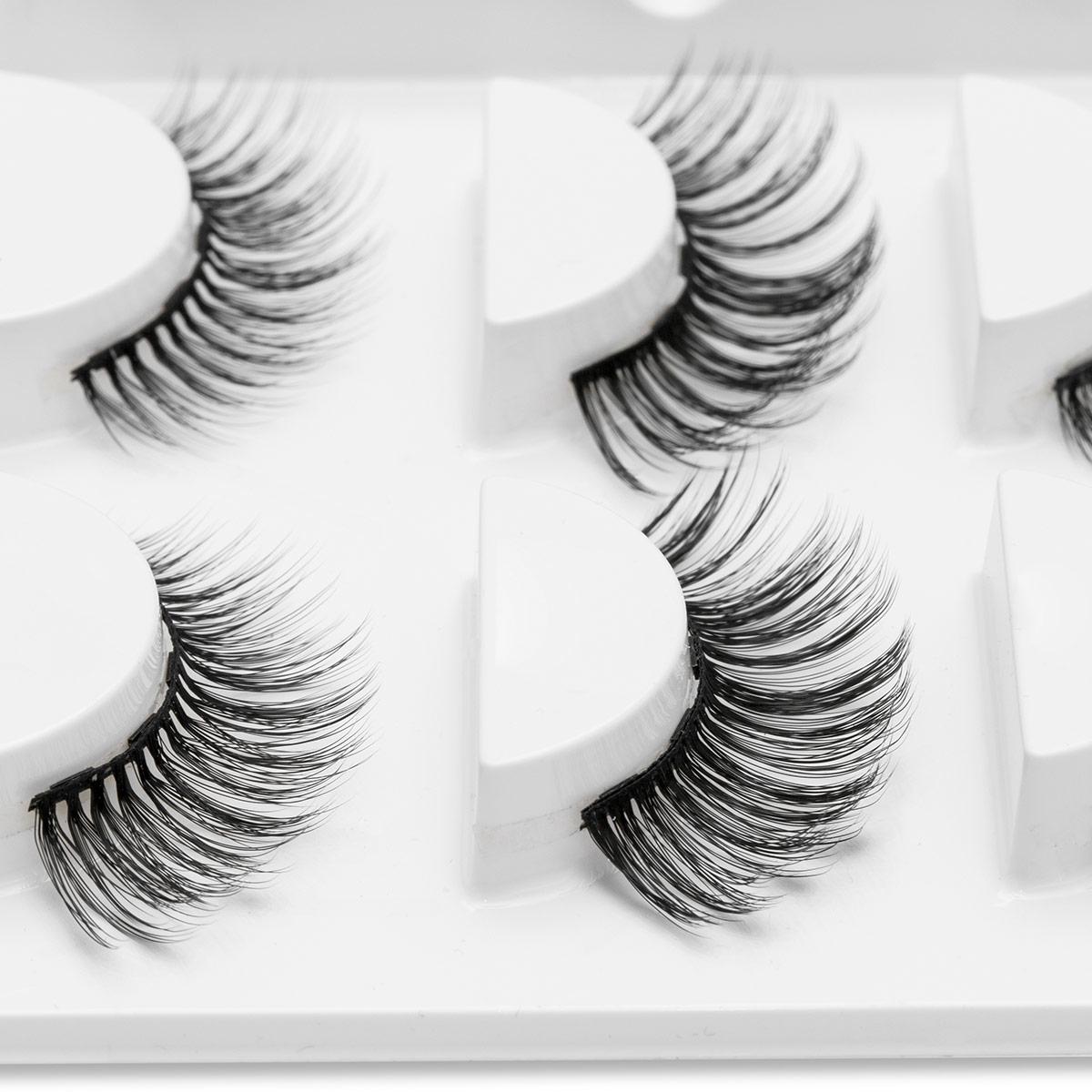 3pair 5 Magnetic Eyelashes 3D Faux mink Eyelashes Magnet Lashes Magnetic Liquid Eyeliner&Magnetic False Eyelashes & Tweezer Set 1