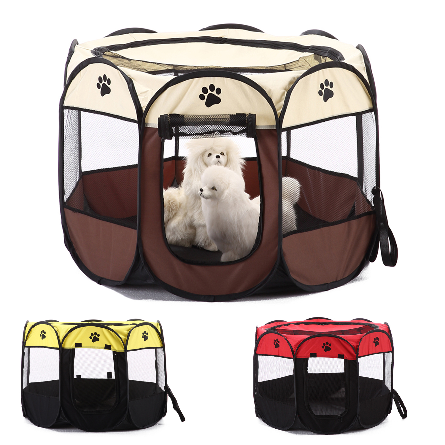 Portable Foldable Pet Playpen Carrying <font><b>Kennel</b></font> Collapsible Travel Tent Indoor Outdoor Use Water resistant Removable Shade Cover image