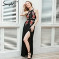 Simplee bordados chiffon halter backless sexy dress mulheres verão 2017 vestido de noite longo dress partido preto elegante do vintage dress