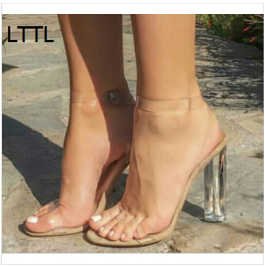 ФОТО 2017 LTTL Sexy Kim Kardashian Perspex Heels Buckle Strap Clear Women Sandals Transparent Party Shoes Zapato Mujer Free Shipping