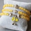 6mm Burst Yellow Crystal Bracelet Tibetan Silver Gourd Pendant Female Jewelry Bracelet Multilayer Chain Necklace Natural Stone