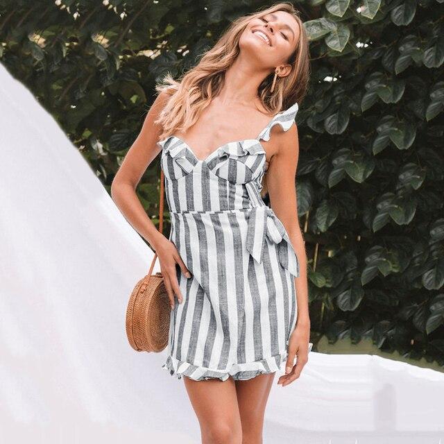 a74268864065a Women Dress Elegant Stripe Print Spaghetti Strap Backless Sleeveless Ruffle  Summer Dress Women Casual Mini Beach Dress Sundress