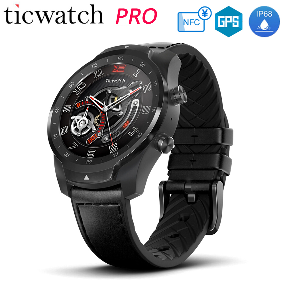 Original Ticwatch Pro Smart Watch NFC Google Pay Google Assistant Layered Display Long Standby IP68 Waterproof