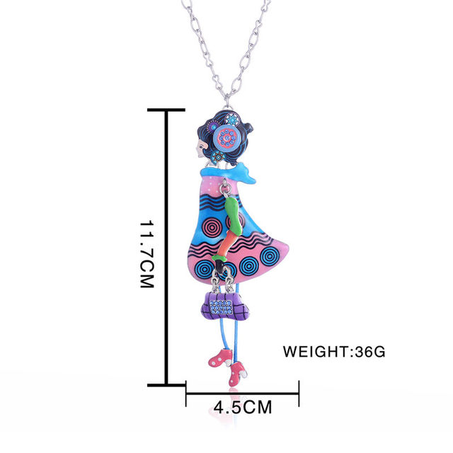Enamel Chain Necklaces with Fashion Woman Pendant
