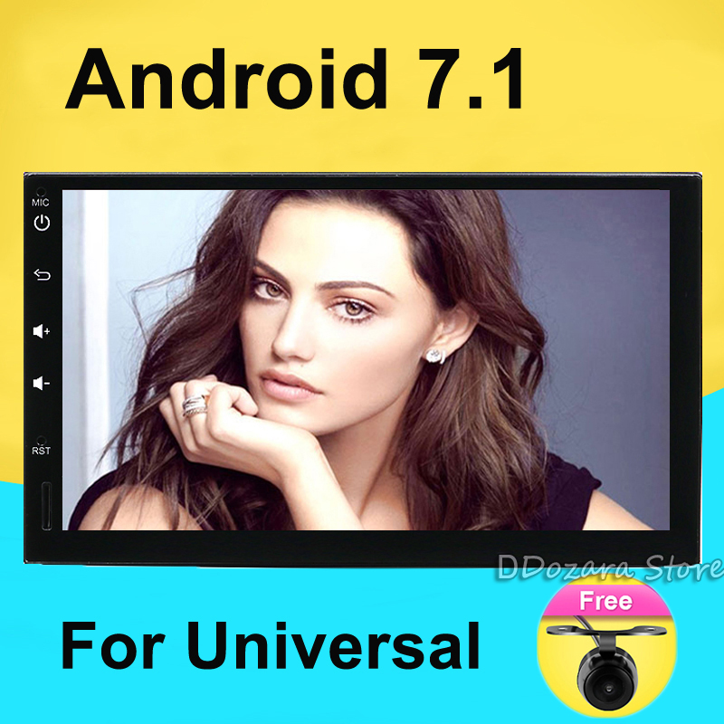 Android 7.1 Universal Car Radio Double 2 din Car Radio Player GPS Navigation In dash Car PC Stereo video+Free Map+Free Camera цена