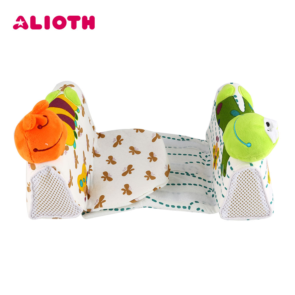 Alioth Cartoon Baby Sleep Shaping Blankets Mat with Pillows Anti Roll Sleep Positioner Infant Safe Sleep Mat for Newborn Babies