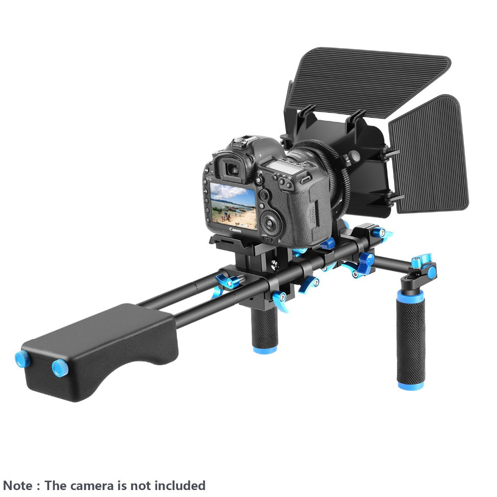Neewer Aluminum Alloy Film Movie Video Making System Kit for Canon Nikon Sony DSLR Cameras Camcorder:Shoulder Rig+Follow Focus yelangu aluminum alloy camera video cage kit film system with video cage top handle grip matte box follow focus for dslr