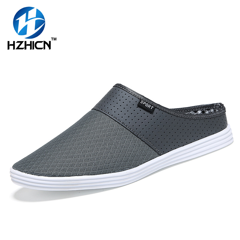 HZHICN New Summer Men Shoes Breathable Men Casual Shoe 2017 Fashion Soft Light Mesh Shoes Men Loafers Slip-on Flat Sandals Black baby girl boy bling first walkers toddler soft sole sports shoes breathable children s anti slip shoe light cool summer new in