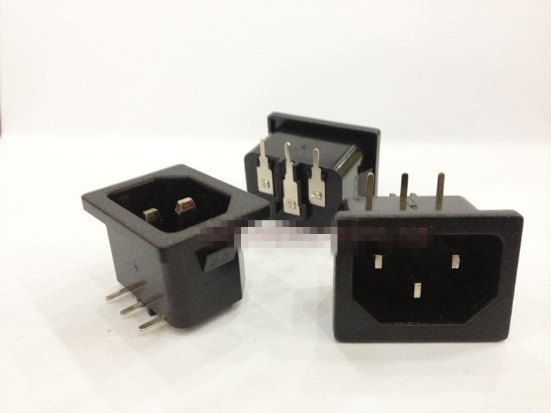5pcs or 10Pcs White or Black AC 250V 10A IEC 320 C14 Male Plug 3 Pins PCB Panel Power Inlet Socket Connector 120-B05