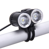 New 6000LM 2x CREE T6 White LED Waterproof Aluminum Alloy Front Bicycle Light Bike Headlamp Headlight