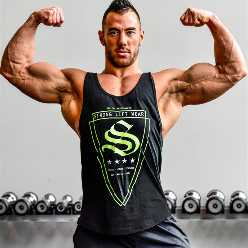 Mens Bodybuilding   Tank     Tops   Gyms Fitness Workout Sleeveless shirt Casual Fashion Cotton Printed Sling Vest Male Summer clothing