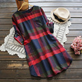 Japanese Women's Casual Sweet Cute Literary Pocket Spell Color Plaid O Neck Long Sleeve Cute Kawaii Female Dress Mori Girl U557