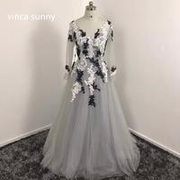 Vinca Sunny Long Sleeve Gray Prom Dresses Floor Length Formal Party Graduation Dresses Robe De Soiree