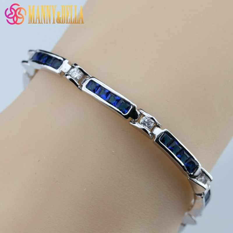 Vintage Blue Zircon 925-Sterling-Silver Jewelry Overlay Chain Link Bracelet For Women Free Gift Box NB02