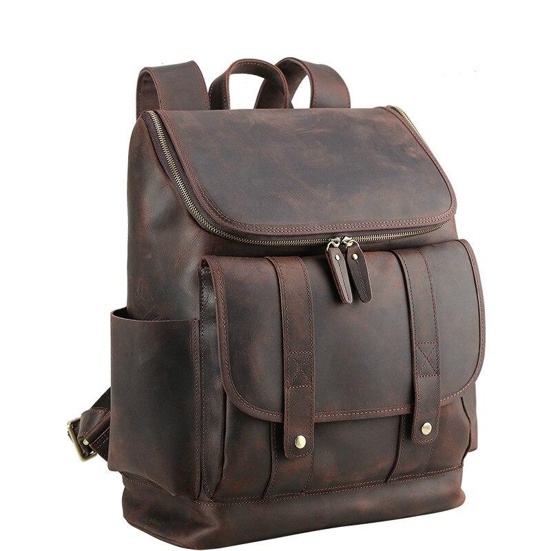 Men Genuine Leather Large 17 Laptop Designer Travel Backpack Bags Crazy Horse Leather Brand Designer Casual