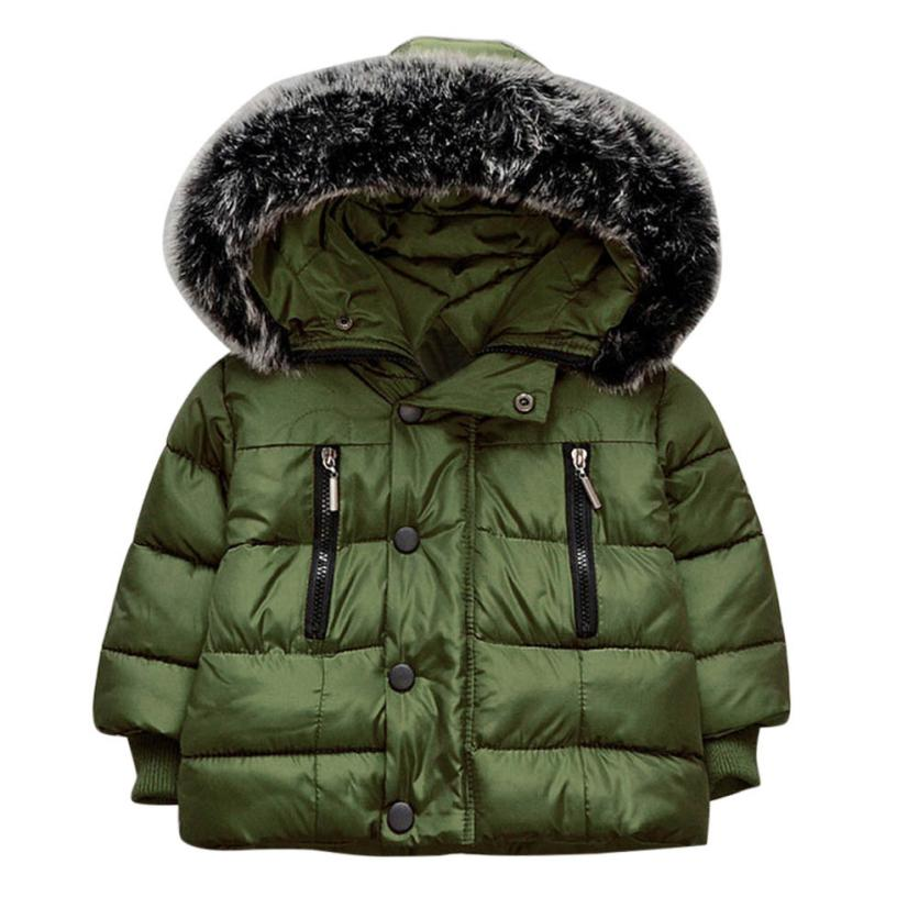 Baby Girl Boy Winter Cotton Hooded Coat Jacket Thick Warm Zipper Outwear Clothes NO2 Woo ...