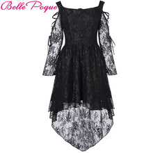Belle Poque 2017 Vintage Lace Dress Fall Female Robe 50s Rockabilly Off Shoulder Black V-Back Victorian Gothic Punk Mini Dresses