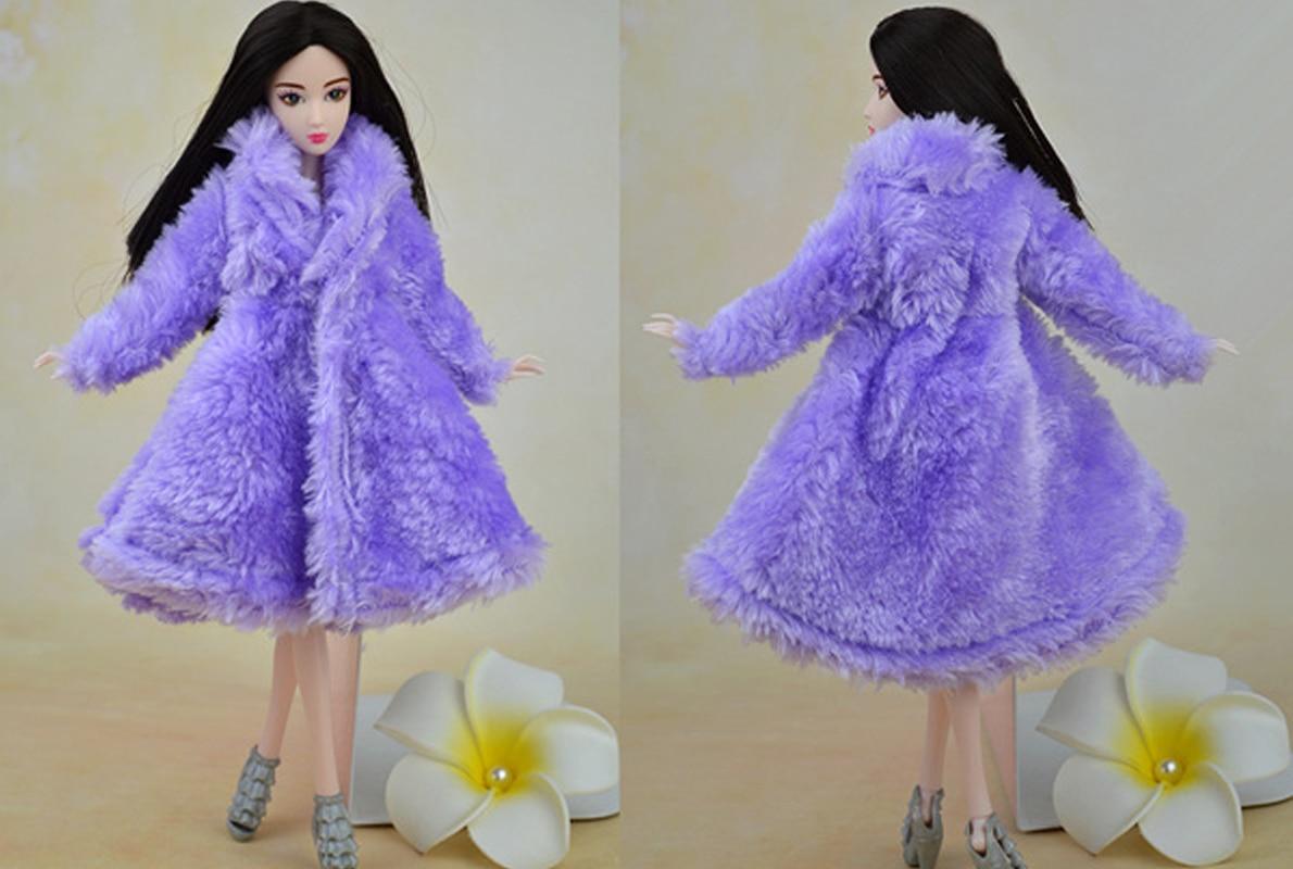 Toy Doll Accessoarer Vinter Warm Wear Överrock Purple Fur Coat Mini - Dockor och tillbehör - Foto 2