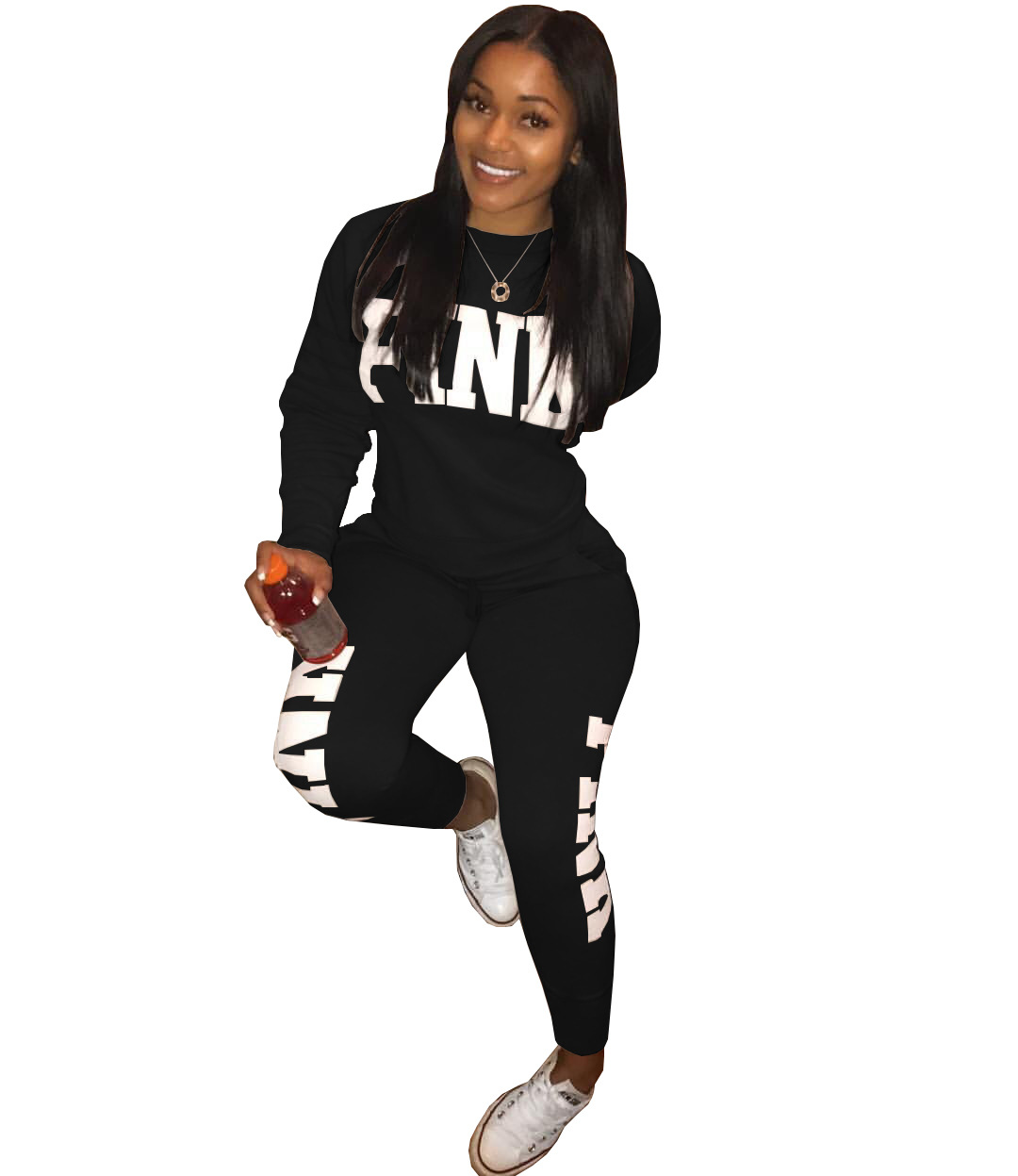 Black Womens Club Sets Two Piece Set Fashion Spring Tracksuit Full Sweat Suits Long Sleeve Plus Size Women 2Piece Set Long Pants