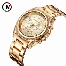 Top Luxury Brand Quartz Watches Women Rose Golded Diamond Rhinestones Montre Femme Hand Watch Calendar Waterproof Wristwatch(China)